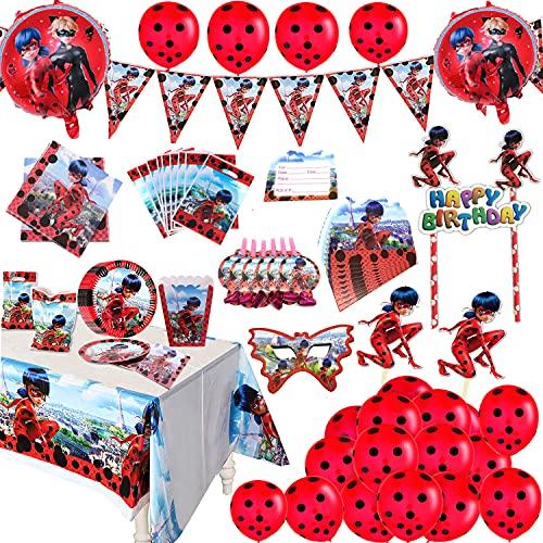 Ladybug Suministros para Fiestas Niñas Cumpleaños Decoración Vajilla Kit Incluido Pancarta Globos Paquete de Regalos para 10 Niños