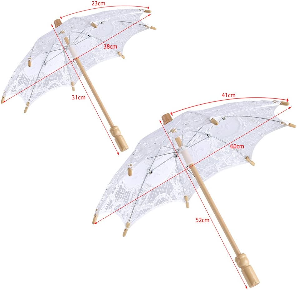 Yosoo Spitze Regenschirm Vintage Hochzeit Spitze Stickerei Reine Baumwolle Dame Braut Hochzeit Sonnenschirm Dekoration Foto Requisiten Small-wei/ß