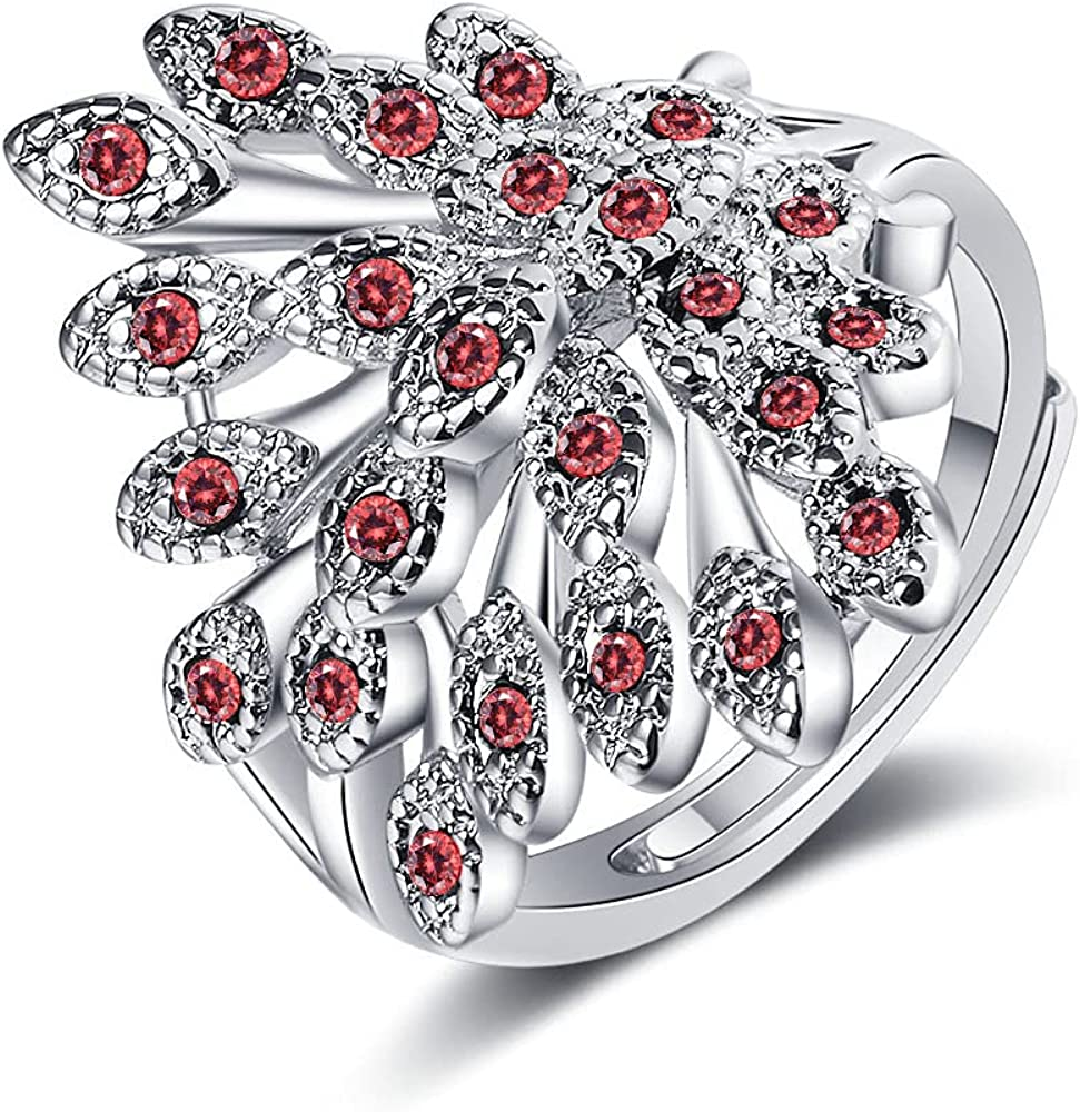 CZ Peacock Wrap Open Rings for Women Girls Elegant Flower Animals Expandable Engagement Promise Statement Finger Rings Wide Gold Plated High Polished Rings for Daughter Bff Birthday