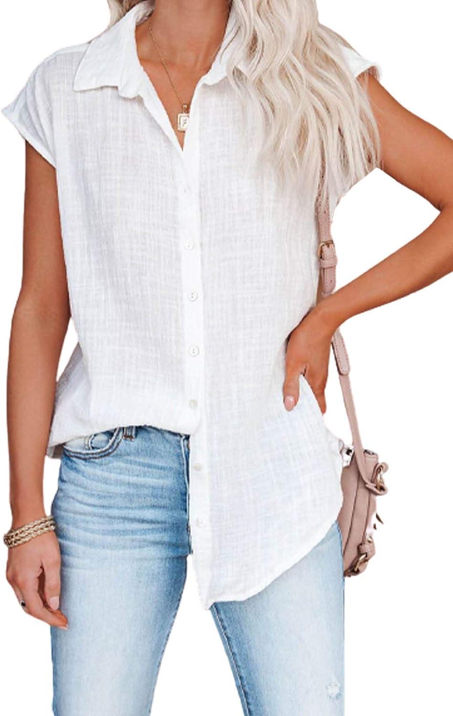 Diukia Women's Summer Cute Ruffle Cap Sleeve Blouse Shirts Casual Button Down V Neck Blouses Tops