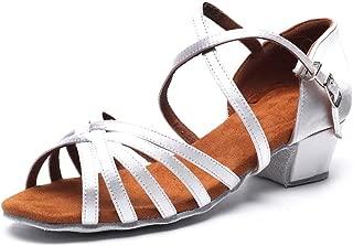 Girls Latin Dance Shoe Satin 1.1inch Heel Practice Party Ballroom Wear
