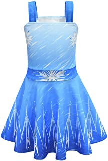 COUCOU Age Elsa Princess Dress Up Costumes for Little Girls Birthday Party with Accessories (Cloak,Crown,Magic Wand)