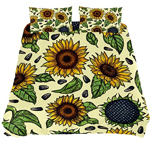 ASIGA Big Yellow Sunflowers King Duvet Cover Set 3 Pieces Printed Comforter Cover with Zipper Closure Bedding Set for Women Men,Bedroom Bed Linen