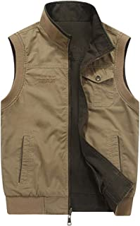 Men's Vest, Casual Lightweight Outdoor Gilet with Multi Pockets, Full Zip Sleeveless Jacket for Safari Fishing Photo Trave...