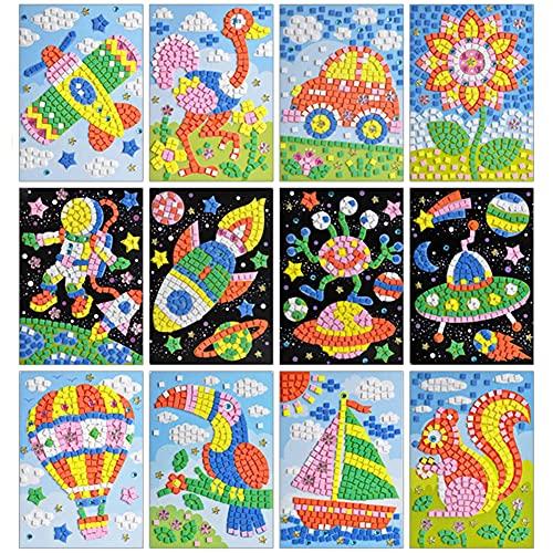 Queta Kits de Mosaïque pour Enfants Autocollant Mosaïque Kits d'illustration de Animaux en Mosaïque Sticky Mosaiques Autocollantes Loisirs Créatifs pour Enfant 12pcs (Type2)