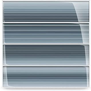 Deep Ocean Blue, Gentle Grey Glass Tile Perfect for Kitchen Backsplash or Bathroom, 3x12
