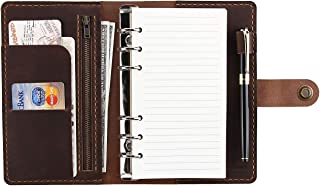 Leather Writing Journal Notebook Refillable, A6 Travelers Notebook with Pockets, 6 Ring Binder Planner Notebook with Pen H... photo