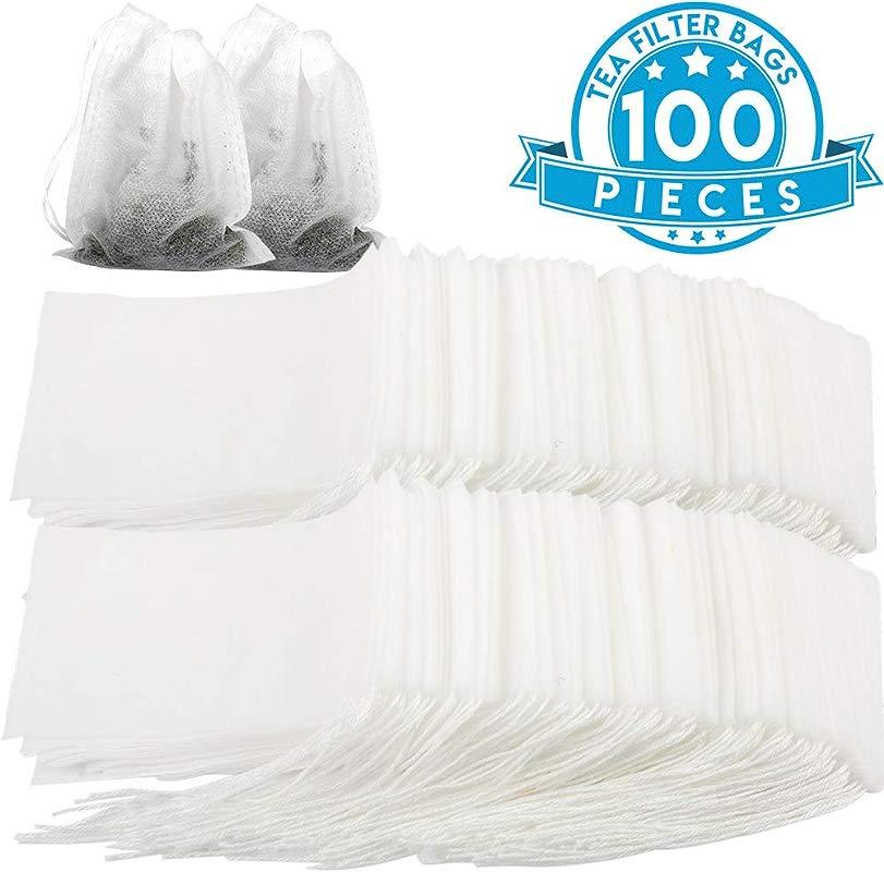 Empty Tea Bags YGDZ 100pcs Disposable Tea Filter Infuser Bags Drawstring Empty Tea Bag For Loose Leaf Tea White 3 15 X 3 94 Inch