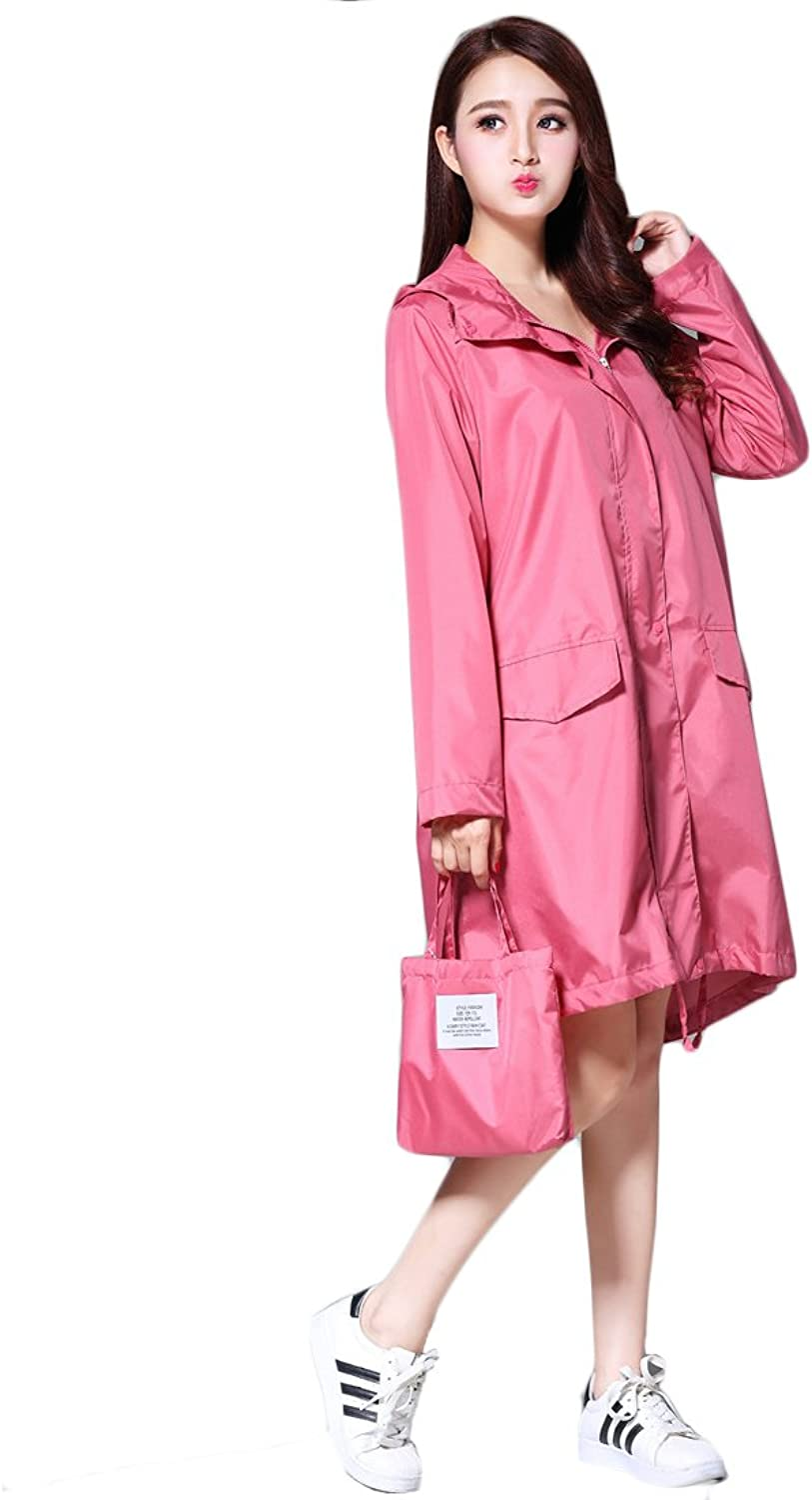 Long raincoat portable adult women waterproof and breathable outdoor polyester raincoat can be reused windbreaker by TIANTA