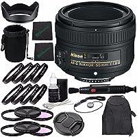 Nikon af-s Nikkor 50mm f / 1.8gレンズ+ 58mm 3Pieceフィルタセット(UV、CPL、FL) + 58mm + 1+ 2+ 4+ 10クローズアップマクロフィルターセットwithポーチ+レンズキャップ+レンズフード+レンズクリーニングペンバンドル
