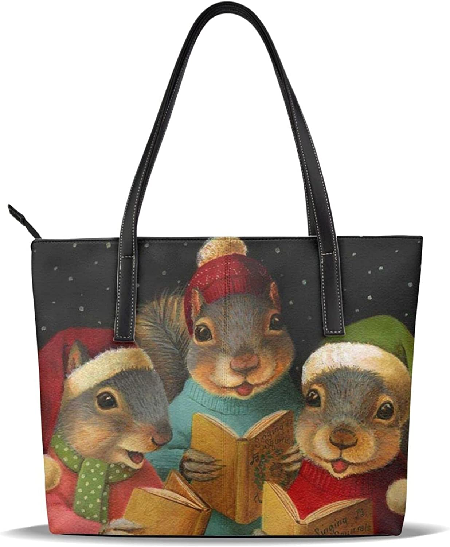 Christmas Squirrel Print Handbag Microfiber Leather High quality Leathe Women High quality