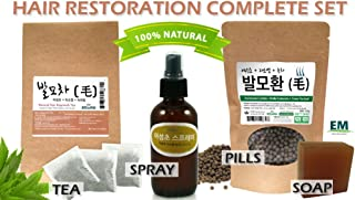 100% Natural Herbal Hair Restoration Complete Set/Treatment Spray, Tea, Pills and Soap Set for Helping Regrowth of Hair 발모 환, 차, 스프레이, 비누 4종 세트
