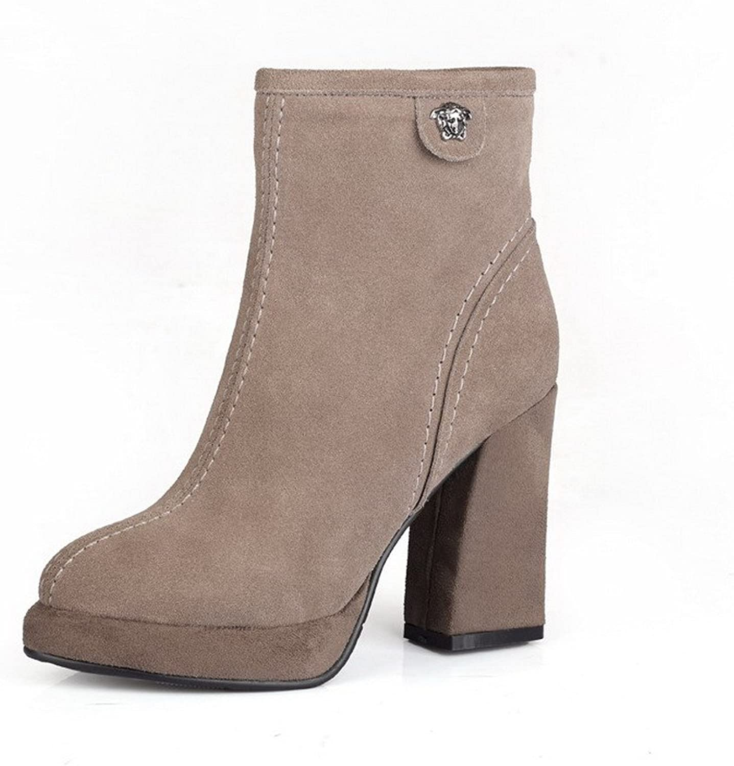 WeenFashion Women's Cow Imitated Suede High-Heels Closed-Toe Boots with Thread