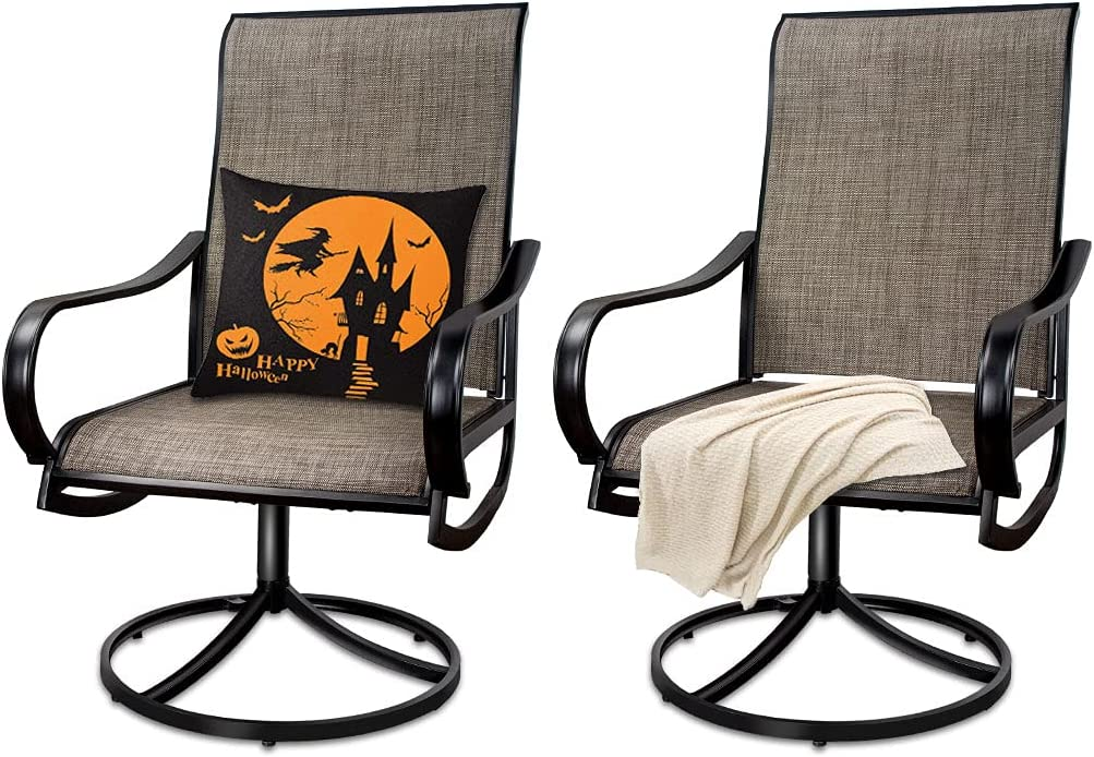 MEOOEM Limited Special Price Patio Max 79% OFF Textilene Swivel Outdoor 2PCS Dining Chairs