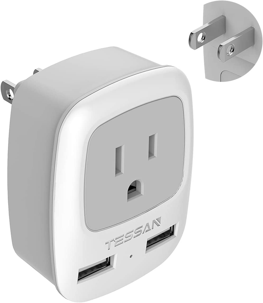 3 Prong to 2 Prong Adapter, TESSAN Japan Power Adapter Plug with USB Wall Charger, Multi Outlet Cruise Ship Accessories, Travel Adaptor for US to Japanese Canada Philippine - Type A