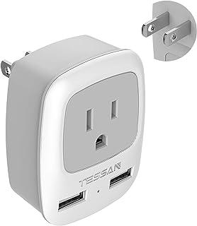 TESSAN - Enchufe USB de 3 a 2 clavijas, adaptador de corrien
