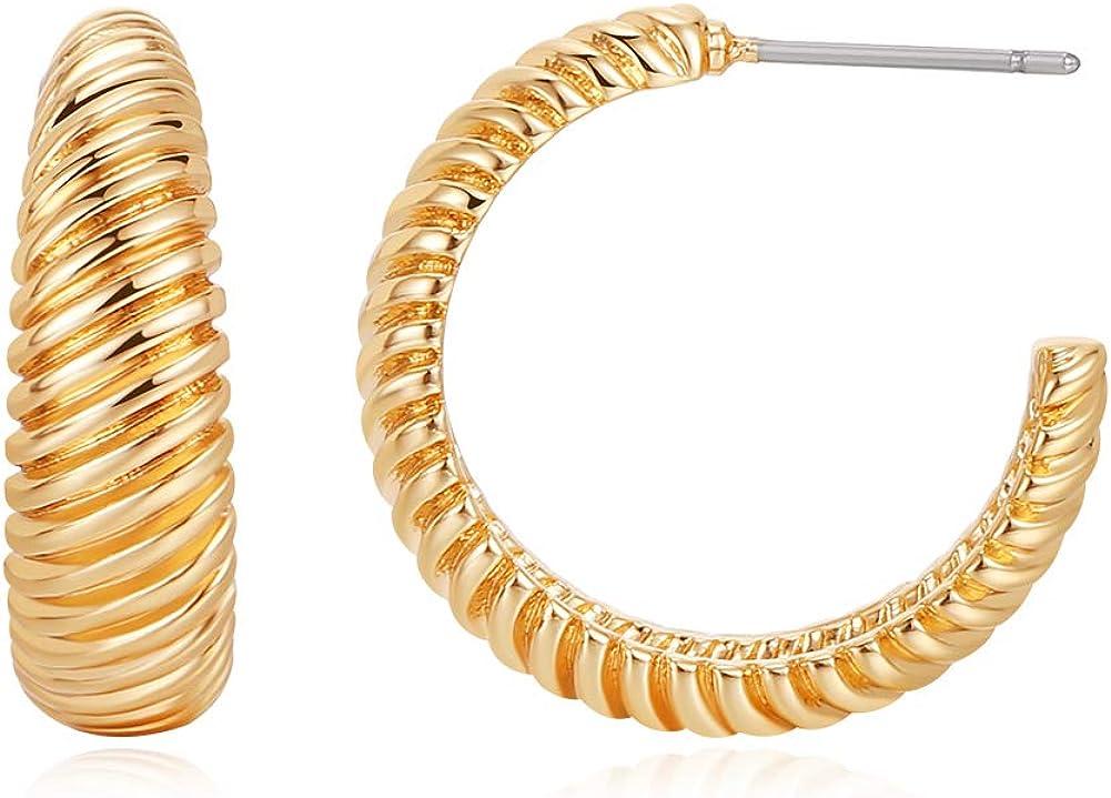 Gold Hoop Earrings for Women, 14K Gold Plated Hoop Earrings for Women Gift
