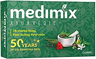 Medimix Herbal Handmade Ayurvedic Classic 18 Herb Soap for Healthy and Clear Skin (125 g)