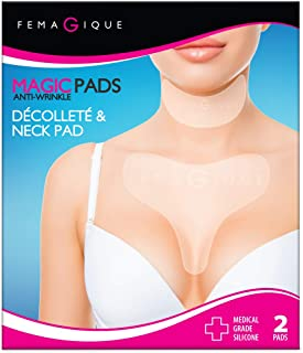 Femagique Silicone Décolleté Anti-Wrinkle Chest & Neck Pads Reduce & Prevent Cleavage Creases Wrinkles & Crepey Skin