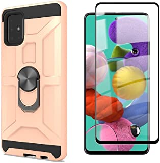 Cuoqing Samsung Galaxy A51 fodral, A51 fodral, med 1 skärmskydd, silikon stötsäker hårt skyddande telefonfodral för Samsun...