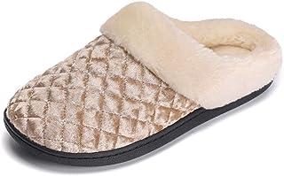 3fe91e7d9eb44 Womens Slipper Memory Foam Fluffy Slip-on House Fleece Fur Lined Anti-Skid