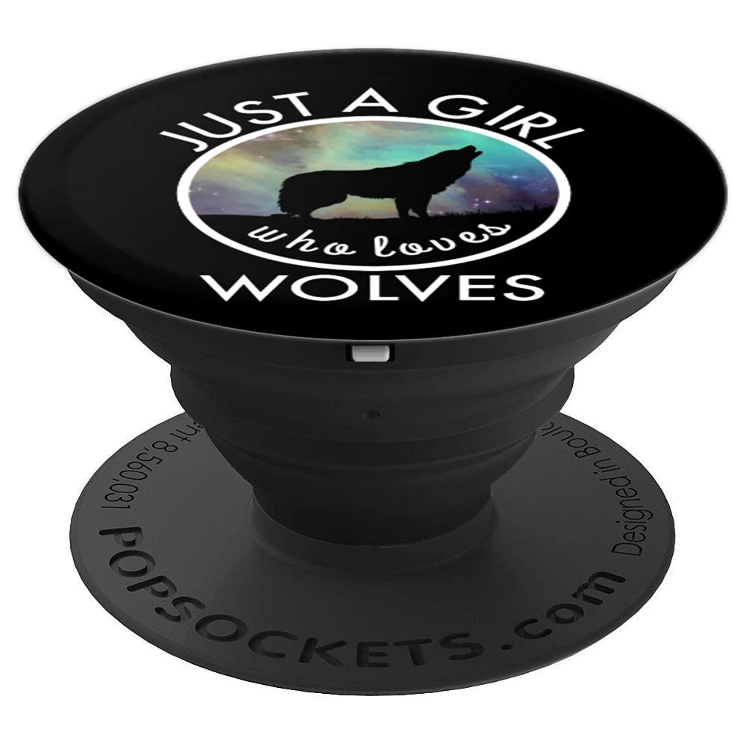 Wolf Howling In The Moon - Just A Girl Who Loves Wolves - PopSockets Grip and Stand for Phones and Tablets
