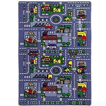 Kids Rug City Map Fun Play Rug 5  X 7  Children Area Rug - Non Skid Gel Backing  59  x 82