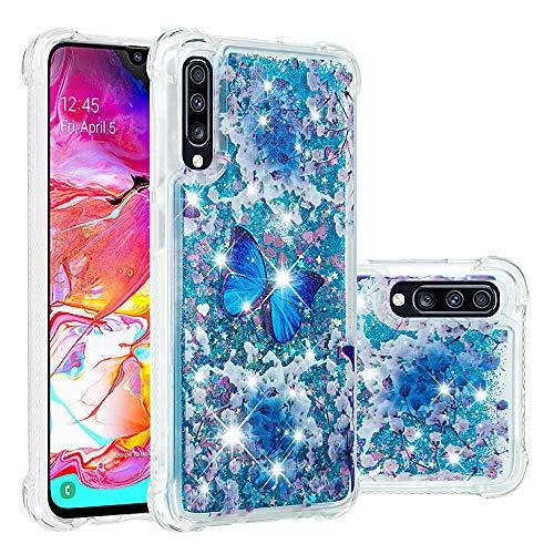COTDINFOR Samsung Galaxy A70 Funda Líquido Cute 3D Glitter Sparkle Bling Quicksand Caso Silicona Blanda Protectora Carcasa para Samsung Galaxy A70 Blue Butterfly YB.