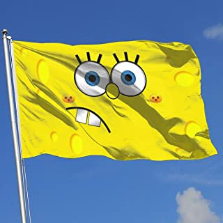 LJIAQI Spongebob Face Flag 3x5 Ft Single-Sided Printed Polyester Home Flag Banner