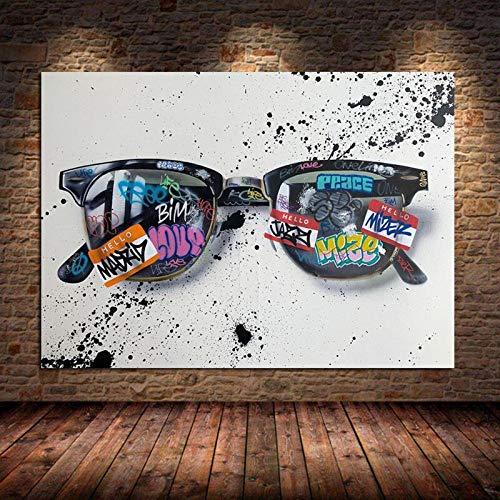 neivy Pintura de Diamante Graffiti Art Gafas de Sol Pintura de Lienzo Pop Street Art Gafas Wall Art Pictures Decoración del hogar (Cuadrado 40x50cm)