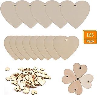 Fai da Te Etichette Decorative Non Finite per Matrimonio WOWOSS 50 Pezzi Cuore di Legno 10x10cm con Fori e 20m Naturale Filo