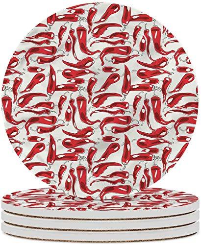 Posavasos de cerámica para verduras, diseño de cocina, posavasos de piedra de cerámica con base de corcho para tipos de tazas y tazas