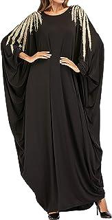 Qianliniuinc Women Plus Size Long Dress-Muslim Clothing Bat Sleeve Casual Abaya Kaftan Moroccan Dubai Gown Black