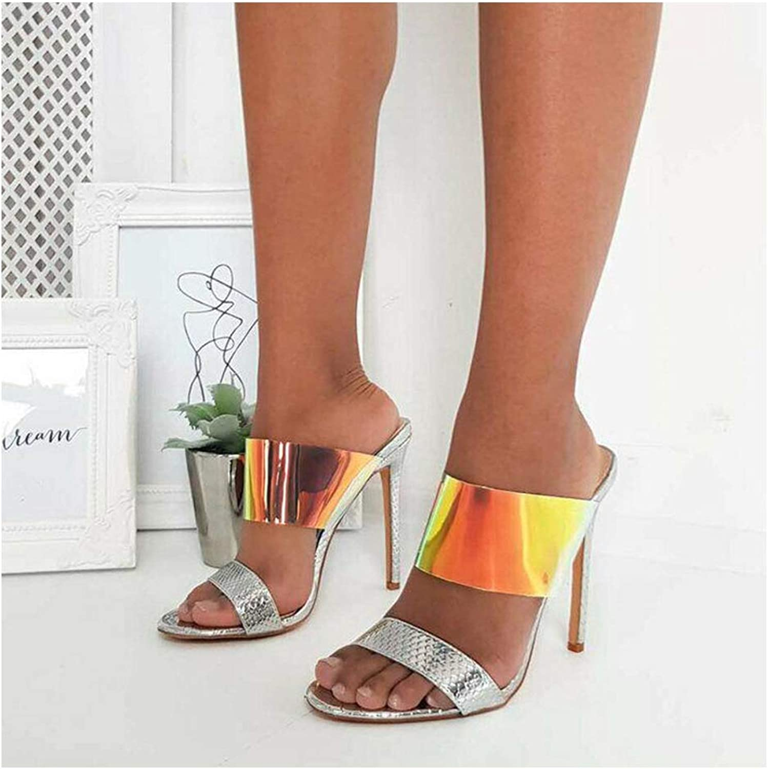 Summer Fashion Women PVC Sandals, Ladies Slipper Strap High Heels 11CM Sexy Wedding Female shoes Bling Mixed colors Sandals,Silver,7US