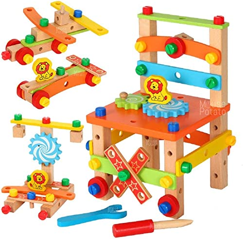 mayatra's wooden chair assembling & model building kit- Multi color