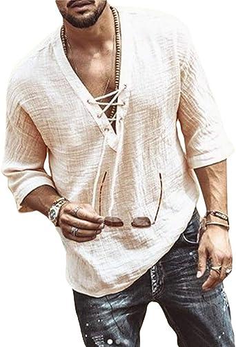 Onsoyours Camisas Hombre Casual Cuello V Slim Fit Sólido Playa Manga Larga Tops Blusa Camisa de Estilo Étnico Retro Otoño Hombre