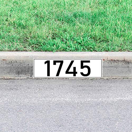 VWAQ Curbside Number Decal Custom Curb Decor Street Address Sticker Decoration - PCCD20 (Black Numbers)