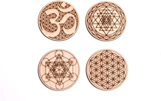 Sacred Geometry Coasters, One Set of Four includes: 1 Metatrons Cube, 1 Sacred Om, 1 Sri Yantra, 1 Flower Of Life, Drinks, Table Decorations for Hot and Cold Beverages, Protect furniture