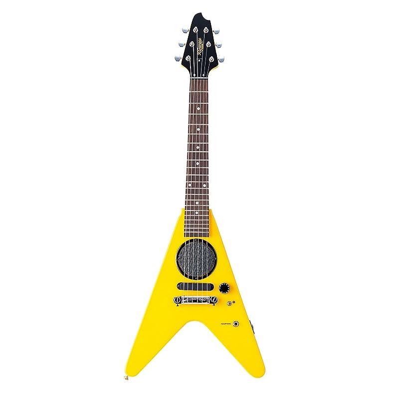 褐色若さリルK-GARAGE スピーカー付ミニエレキギター FVタイプ SFV-180 イエロー