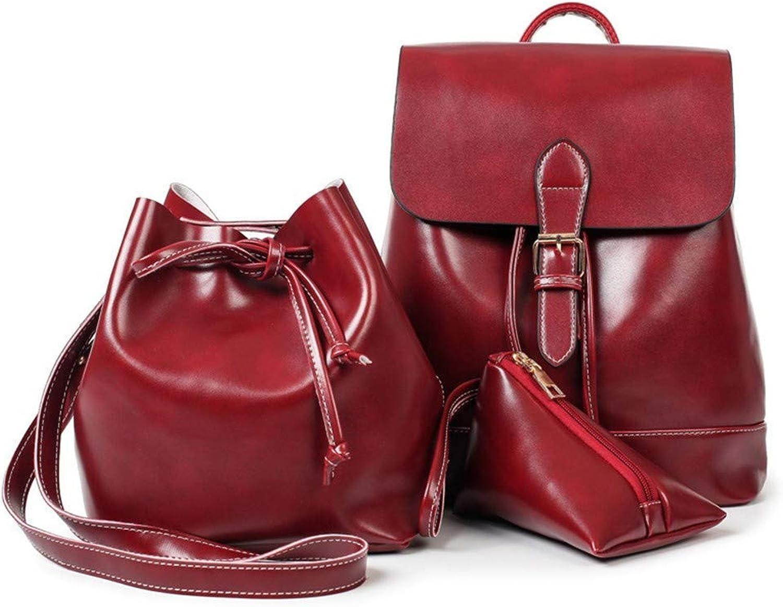DYR Backpack Women's Shoulder Bag Casual Handbag Oil ThreePiece Outdoor Sports Bag Leisure Travel Bag