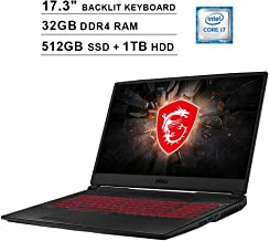MSI Raider GL75 Newest 17.3 Inch FHD 1080p Gaming Laptop - Intel 6-Core i7-9750H up to 4.5GHz, 32GB DDR4 RAM, 512GB SSD (Boot) + 1TB HDD, GeForce GTX 1660 Ti 6GB, Backlit KB, HDMI, USB-C, Windows 10