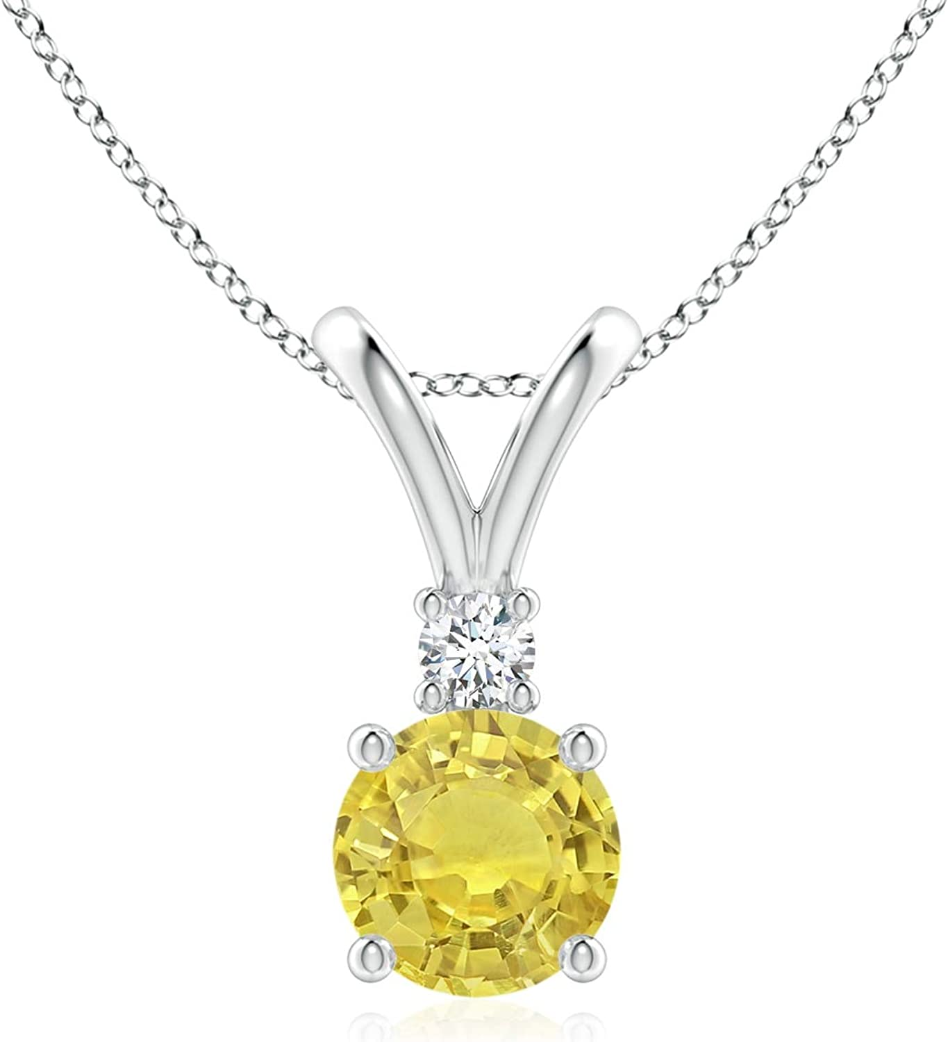 Round Yellow Sapphire Solitaire V-Bale NEW before selling ☆ shop Pendant in 1 Diamond with