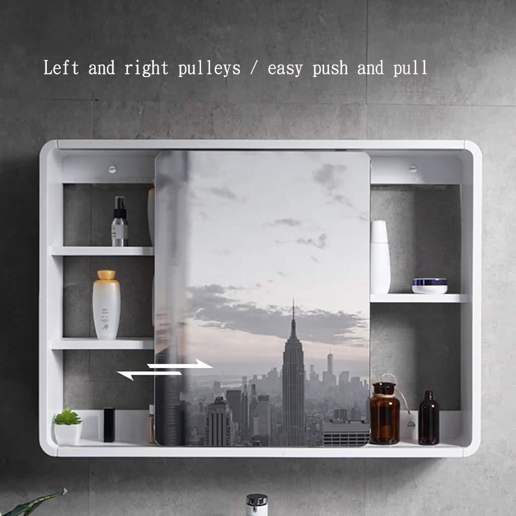 Espejo de baño Mueble De Espejo Deslizante para Baño, Mueble Estante Montado En La Pared, Mueble De Espejo Oculto De Madera Maciza, Diseño De Esquina Redonda, Proceso De Pintura: Amazon.es: Hogar