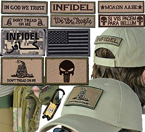 Military Tactical Hat Bundle: 20-in-1 Tool, Operator Cap with Embroidered Morale Patches (Velcro), and Pouch for Airsoft/Paintball - [CIA Desert Ops]