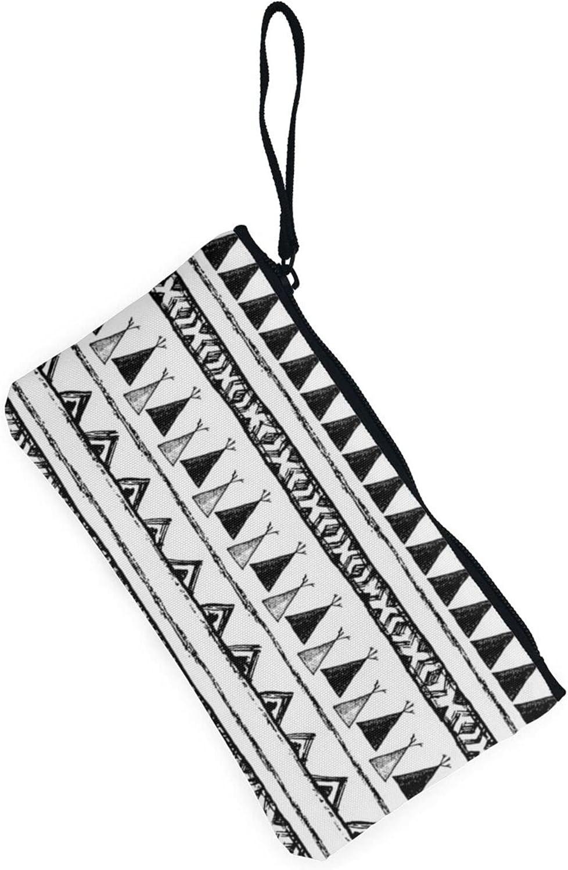 AORRUAM Native American Patterns Canvas Coin Purse,Canvas Zipper Pencil Cases,Canvas Change Purse Pouch Mini Wallet Coin Bag