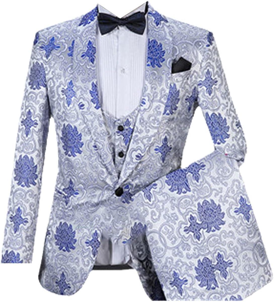 CACLSL Fashionable Men's Suit 3 Pieces Slim Fit Suit Wedding Groom Tuxedo Prom Party Jacket + Pants + Vest