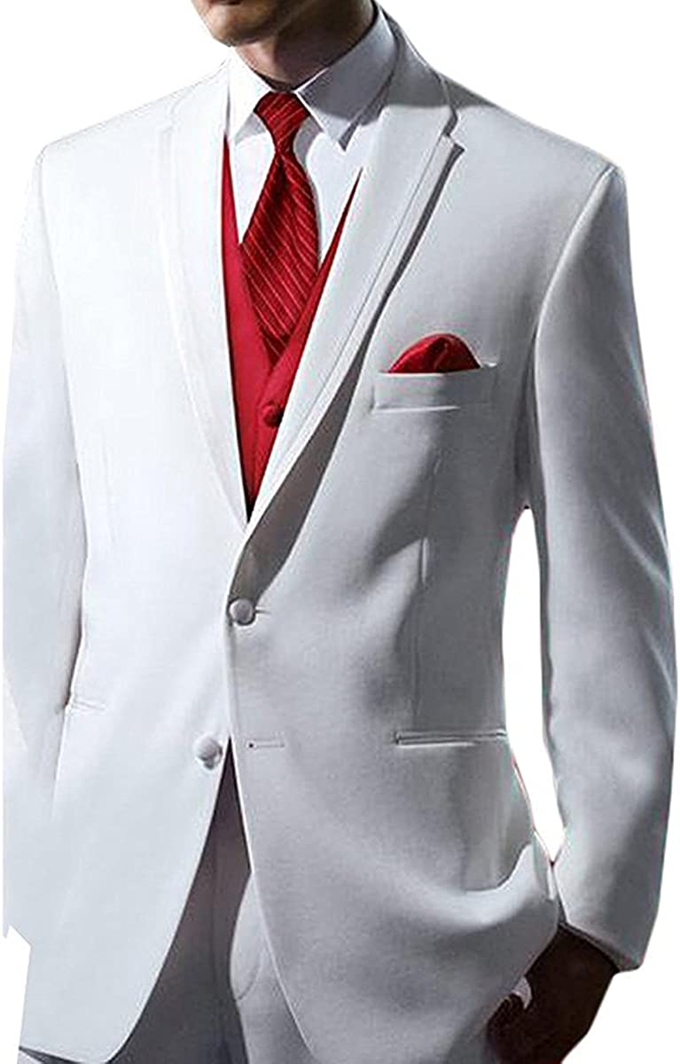 Men's Casual Three-Piece 2 Buttons Men Suits Groom Jacket Red Vest and Trousers(White,Customized Size)