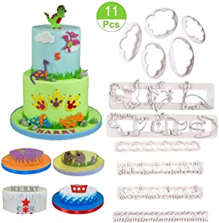 Dinosaur Molds Set - Fluffy Fondant Cloud Cutter,Flame/Wave/Grass/Icicles Cutter and Dinosaur Cookie Cake Plastic Embossing Mold,Sugar Craft,Fondant Decorating Tools