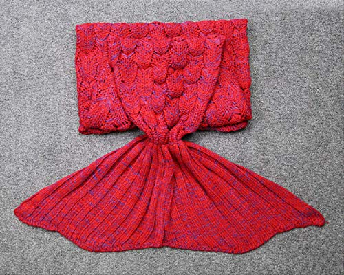 SUNHAON vis schaal zeemeermin staart deken, imitatie kasjmier wol bank deken, haak gebreide golf patroon deken cadeau voor vrouwen