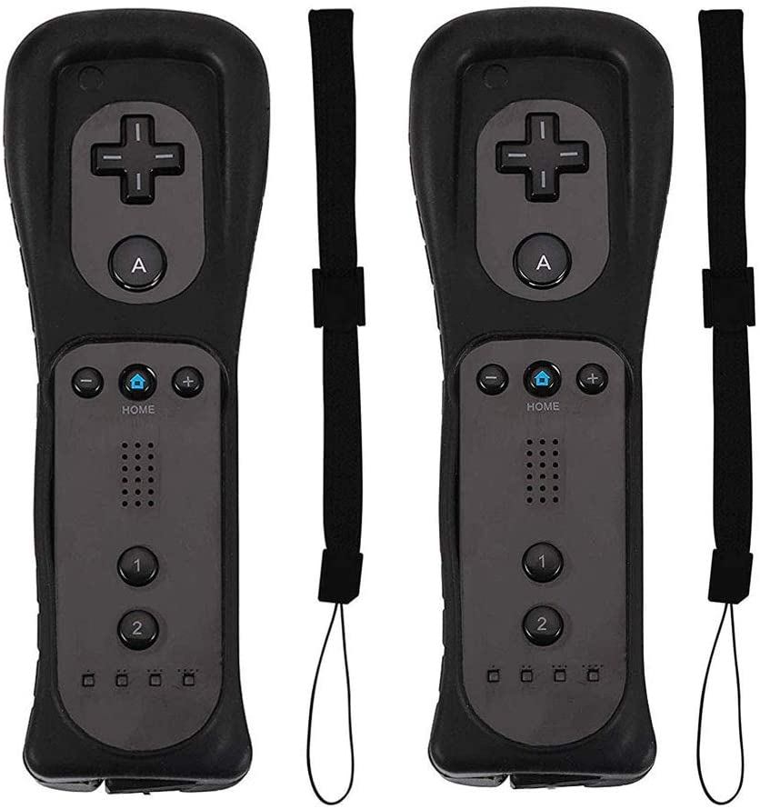 PlayHard 2 Pack Remote Controllers Compatible with Nintendo Wii & Wii U, with Silicone Cases and Wrist Straps (Black X 2)